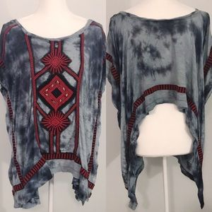 Free People tie dye embroidered beaded top